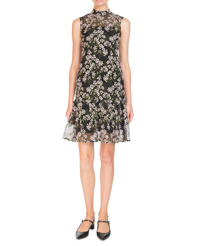 Nena Sleeveless A-Line Floral-Embroidered Dress
