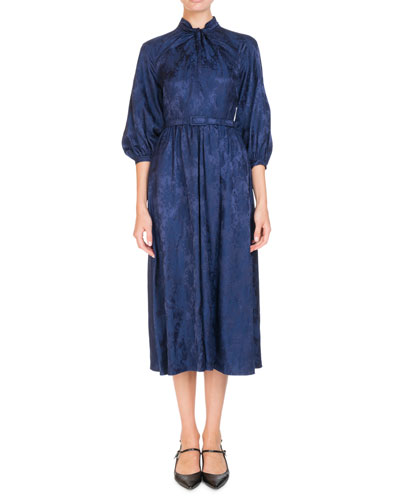 Adrienne 3/4-Sleeve Satin Jacquard Belted Midi Dress