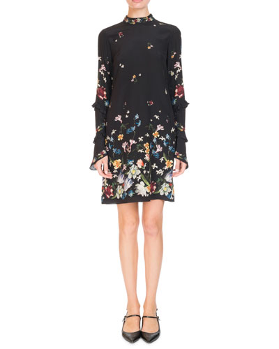 Manon Mock-Neck Ruffled Long-Sleeve Floral-Print Shift Dress