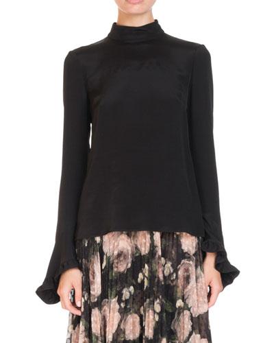 18bd421e7ac0a Lindsey High-Neck Ruffled Bell-Sleeve Silk Blouse
