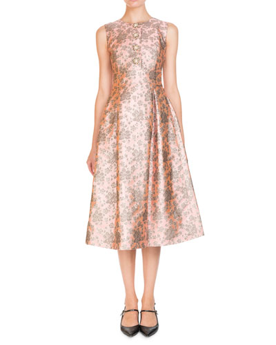 Metallic Floral Jacquard Jeweled-Button Sleeveless Midi Cocktail Dress