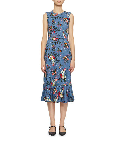 Grazia Sleeveless Floral Flounce Midi Dress