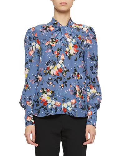 Fayola Long-Sleeve Floral Twist-Neck Blouse
