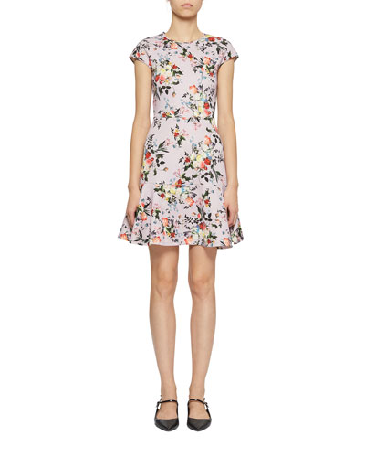 Darlina Short-Sleeve Floral Fit-&-Flare Dress