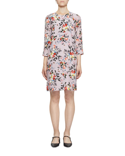 Emma 3/4-Sleeve Floral Silk Shift Dress