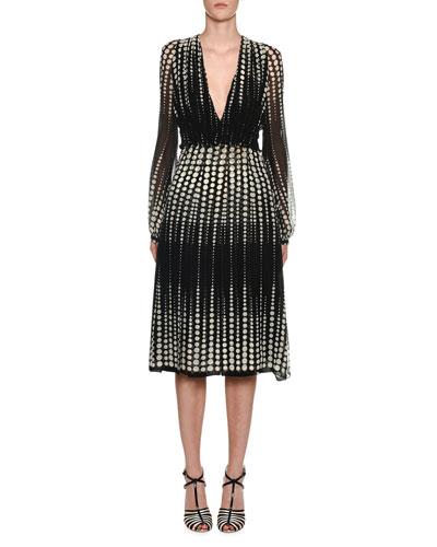 Deep-V Long-Sleeve Dot-Print Silk Midi Dress