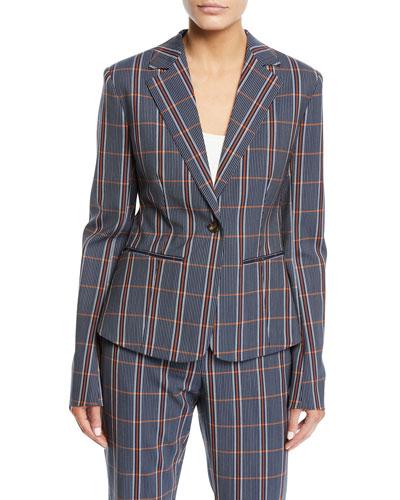 Notch-Lapel One-Button Plaid Wool Jacket