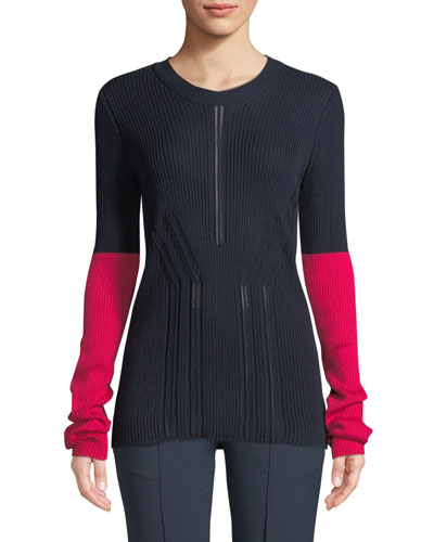 Crewneck Long-Sleeve Colorblock Pointelle-Knit Sweater