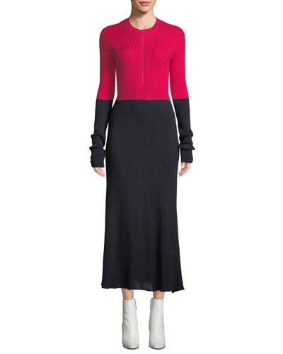 Crewneck Long-Sleeve A-Line Colorblocked Cotton Midi Dress