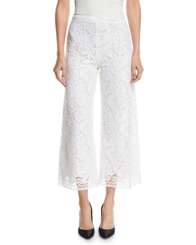 Corded Lace Cropped Flare-Leg Pants w/ Pockets