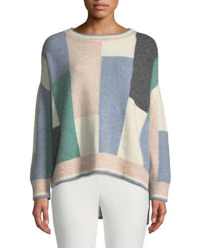 Colorblock Brushed Cashmere Crewneck Pullover Sweater