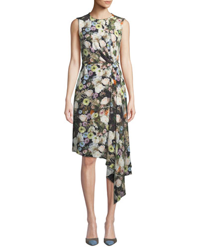 Sleeveless Crewneck Floral-Print Silk Crepe Day Dress w/ Side Drape