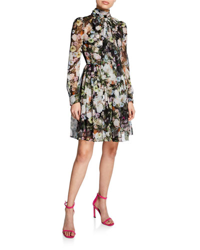 Mock-Neck Floral Print Chiffon Mini Dress