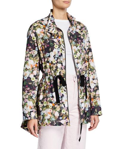 Floral Poplin Peplum-Back Anorak Jacket