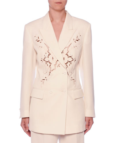Embroidered Anglaise Double-Breasted Fitted Wool Blazer