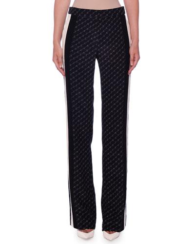 High-Waist Stella Monogram Racer-Stripe Straight-Leg Silk Pants