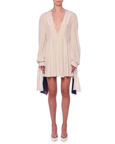V-Neck Long-Sleeve Monogram-Print Silk Dress w/ Tieback