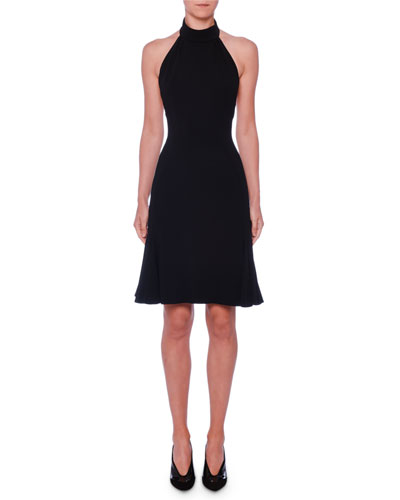 Sleeveless Halter-Neck Open-Back Fit-and-Flare Stretch-Cady Dress