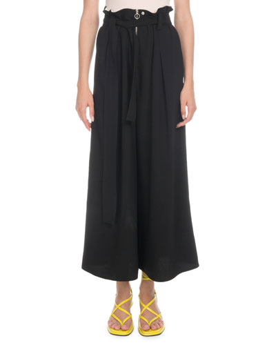 High-Waist Paperbag Wide-Leg Pants