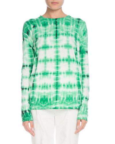 Tie-dye Crewneck Long-Sleeve Cotton T-Shirt
