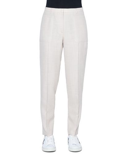 Colette Cotton-Silk Straight-Leg Pants