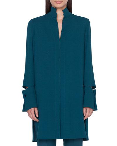 Detachable-Cuff Silk-Crepe Button-Front Tunic