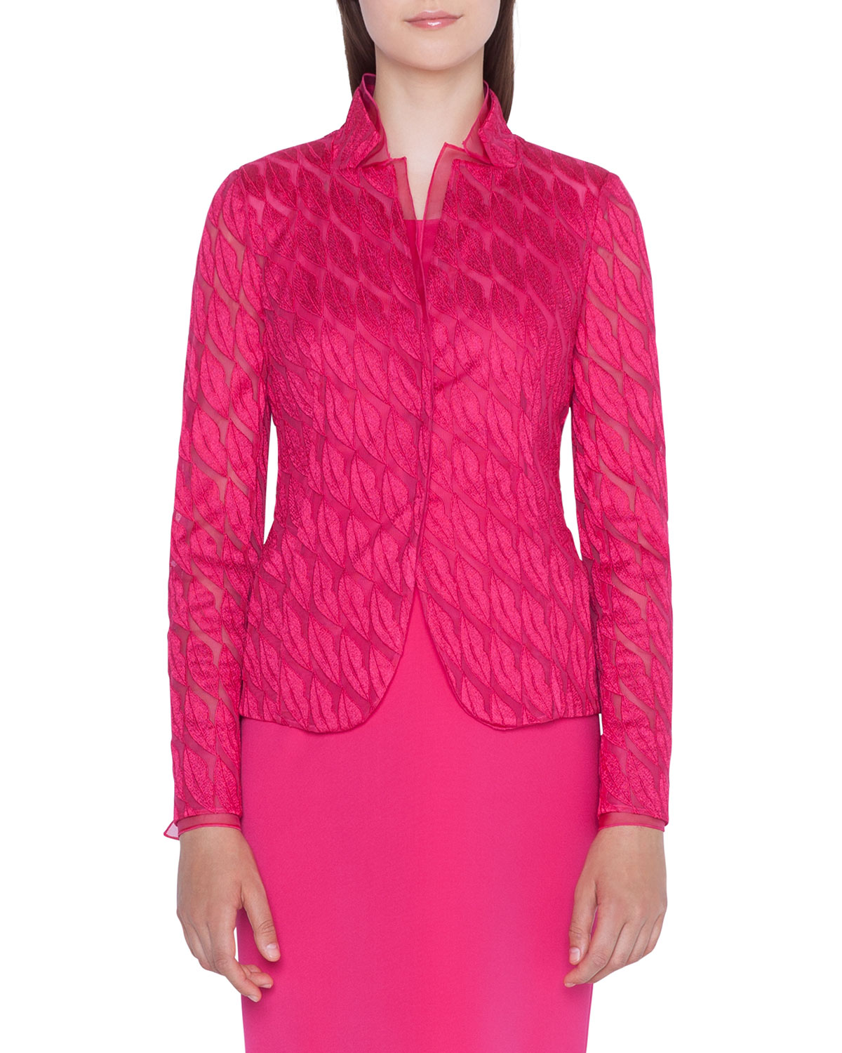 Lips Embroidered Jacket in Pink