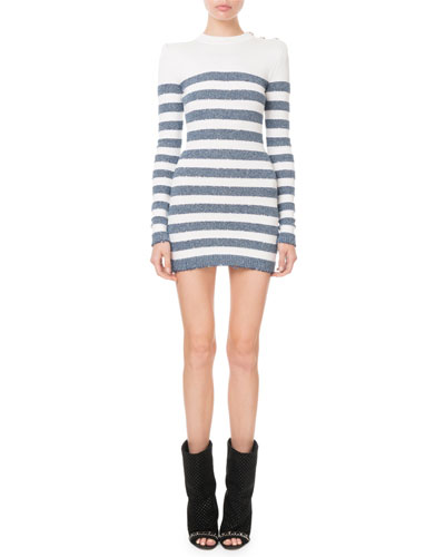 Long-Sleeve Shimmer-Stripe Button-Shoulder Mini Dress