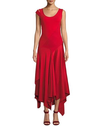 Scoop-Neck Patchwork Sleeveless Asymmetric Dress