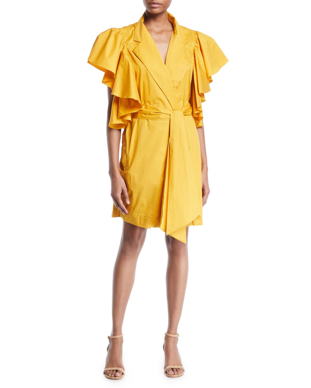 Johanna Ortiz Dresses TULIP EVOLUTION RUFFLED-SHOULDER BELTED STRETCH POPLIN WRAP DRESS