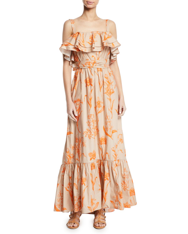 Johanna Ortiz Dresses TROPICAL WAVE RUFFLED SQUARE-NECK BELTED FLORAL-PRINT POPLIN MAXI DRESS