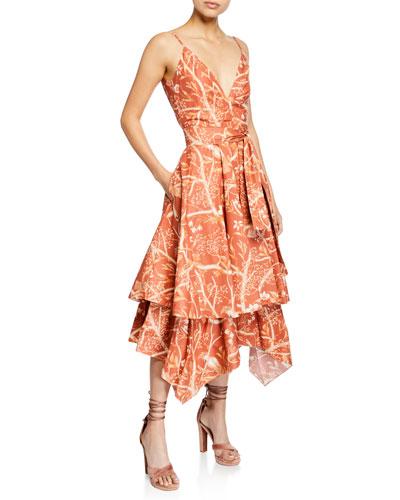 Strappy Woven-Waist Parrot-Print Handkerchief Midi Dress
