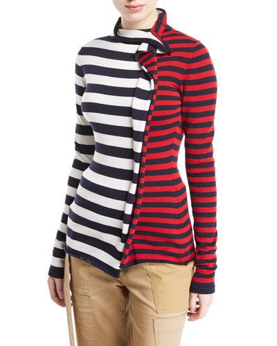 Split-Stripe Turtleneck Sweater