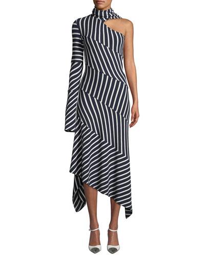 One-Shoulder Tie-Neck Chevron Jersey Midi Dress