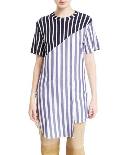 Short-Sleeve Diagonal Mixed-Stripe Crewneck Tee