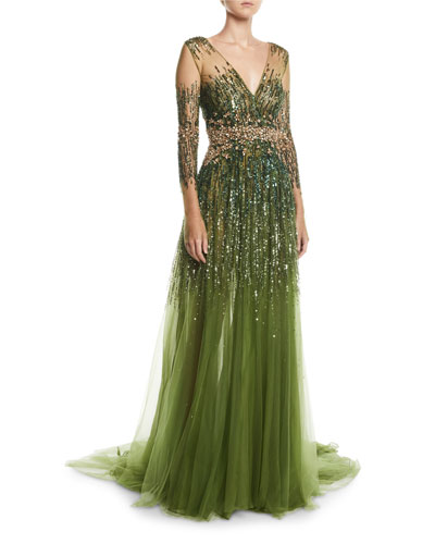 Long-Sleeve Sequined Illusion Gown