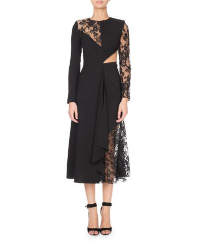 Long-Sleeve Asymmetric Laced Cutout Dress