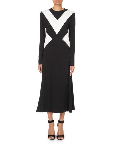 Colorblocked Long-Sleeve Midi Dress