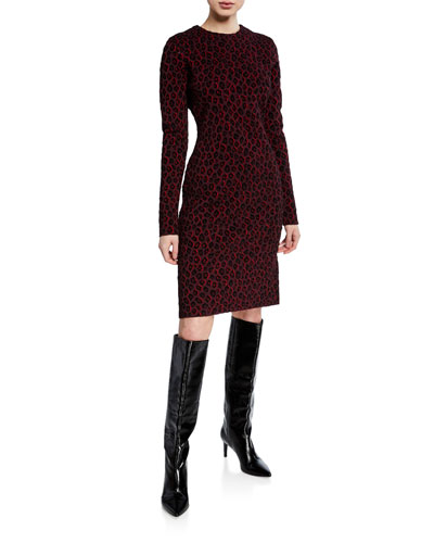 Long-Sleeve Leopard Jacquard Dress