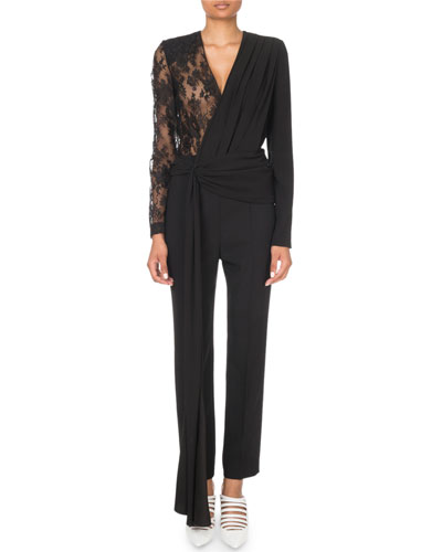 Lace-Sleeve Wrapped Jumpsuit