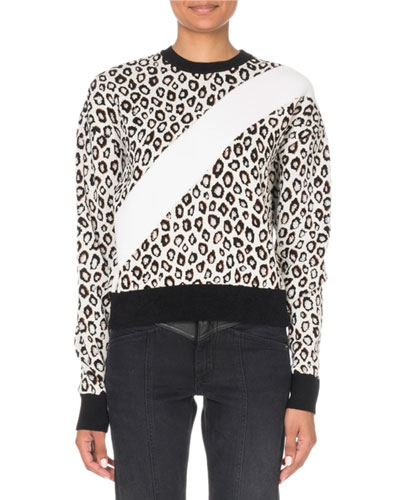 Animal-Print Asymmetric-Striped Sweater