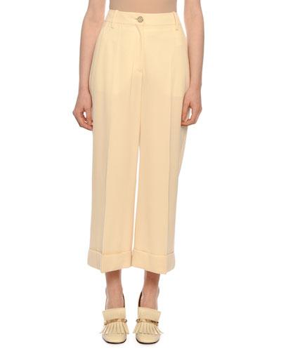 Cropped Wool-Gabardine Wide-Leg Pants