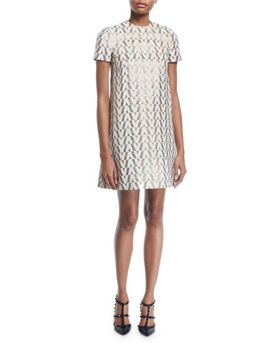 73cffb0d890 Short-Sleeve V Metallic-Brocade Shift Dress Quick Look. Valentino