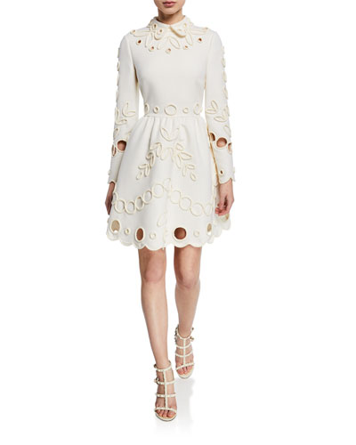 Eyelet-Embroidered Collared Mini Dress
