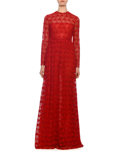 Long-Sleeve Rose Macrame Illusion Gown