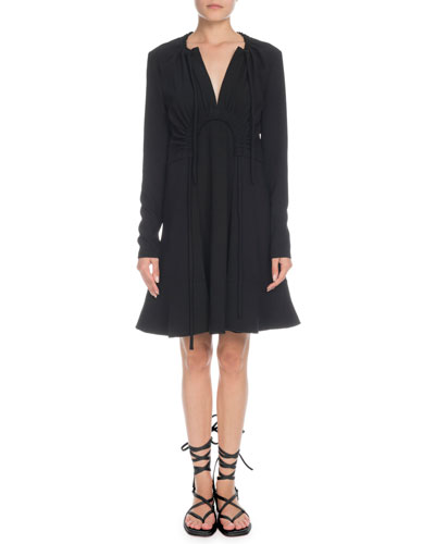 V-Neck Long-Sleeve Horseshoe-Waist Shift Mini Dress