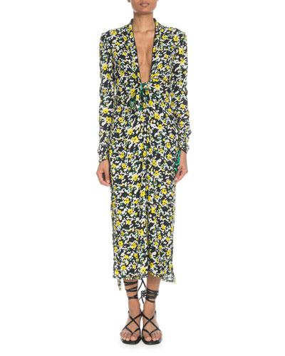 Plunging Long-Sleeve Floral-Print Georgette Long Dress w/ Scarf Hem
