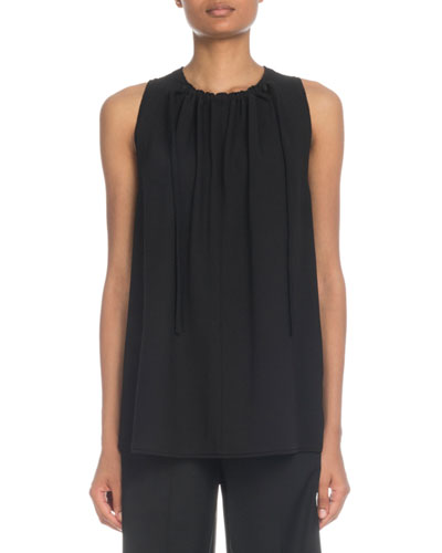 Tie-Neck Sleeveless Crepe Top