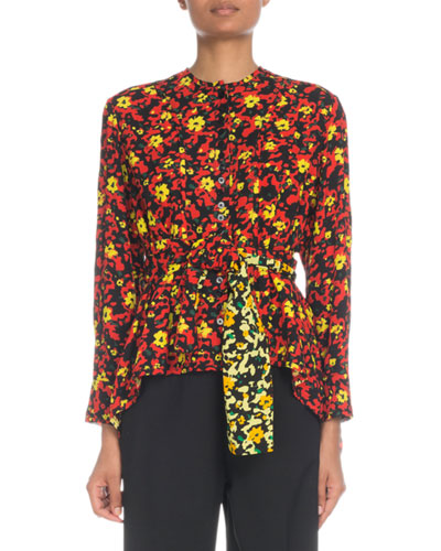 Long-Sleeve Button-Front Floral-Print Viscose Georgette Blouse