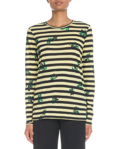 Crewneck Long-Sleeve Floral-Print Striped Cotton Top